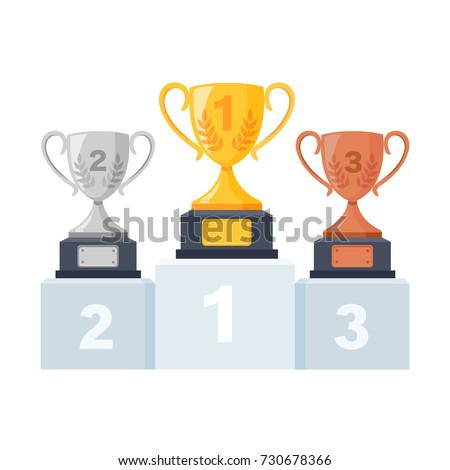 Gold, silver, bronze trophy cup, goblet on podium, pedestal isolated on background. 1st, 2nd, 3rd place. Handing awards to winner. Vector illustration