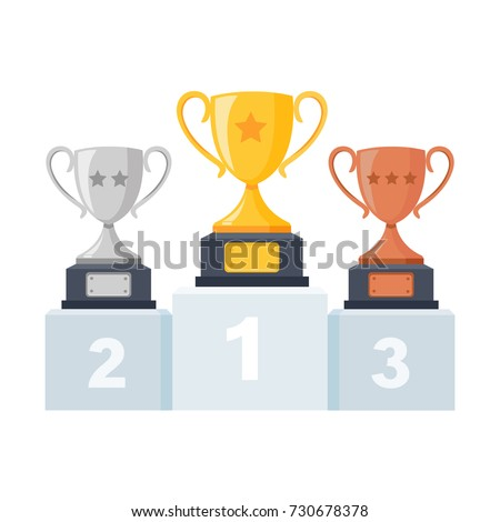 Gold, silver, bronze trophy cup, goblet on podium, pedestal isolated on background. 1st, 2nd, 3rd place. Handing awards to winner. Vector illustration ストックフォト ©
