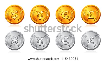 Gold & silver coins with many currency in vector