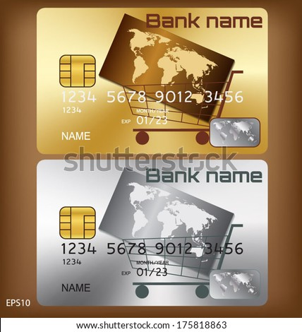Gold/silver credit card or smart card template design : world shopping concept