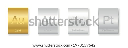Gold, silver, platinum and palladium bars. Four precious metals, chemical elements with a high economic value. Isolated vector illustration on white background.  Stock photo ©