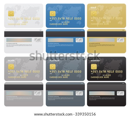 gold silver platinum diamond credit cards template on white background vector illustration