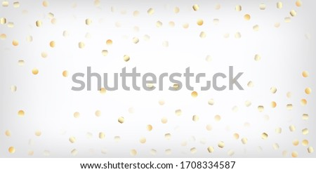 Gold, Silver Rich Falling Bokeh Confetti. Sparkling Winter Sequins. VIP Gold, Silver Lights, Sparkles, Gradient Tinsel Confetti. Premium Luxury New Year Christmas Garland Vector Background.