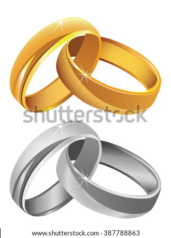 Gold & silver wedding rings vector