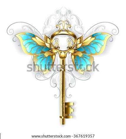 gold skeleton key with