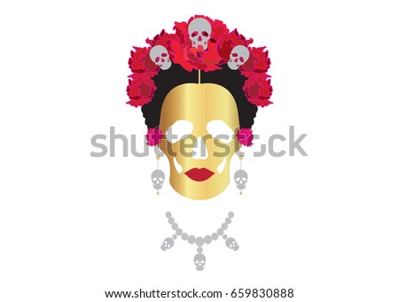 gold skull  portrait of mexican