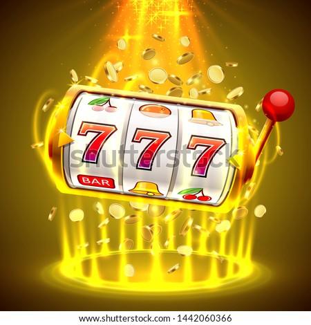 Gold slot machine wins the jackpot. Big win slots 777 banner casino. Vector illustration