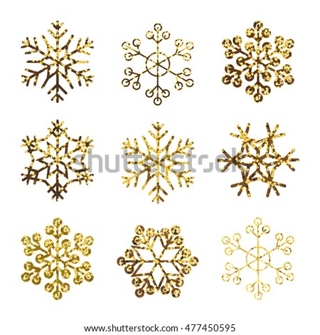 gold snowflakes golden glitter