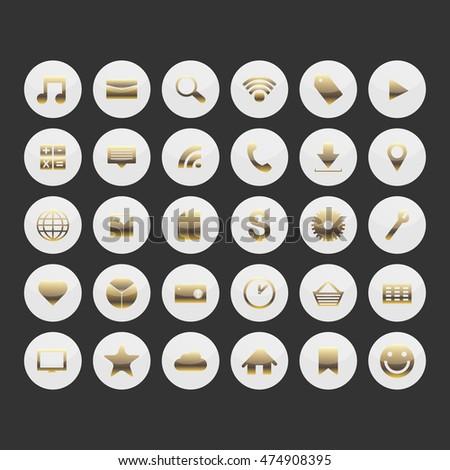 Gold social media icons. Vector illustration