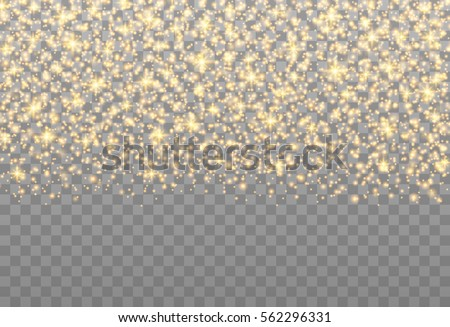 Gold sparkles on the transparent background. Vector light effect.