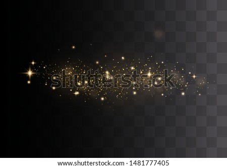 Gold sparks and golden stars glitter special light effect. Vector sparkles on transparent background. Christmas abstract. dust