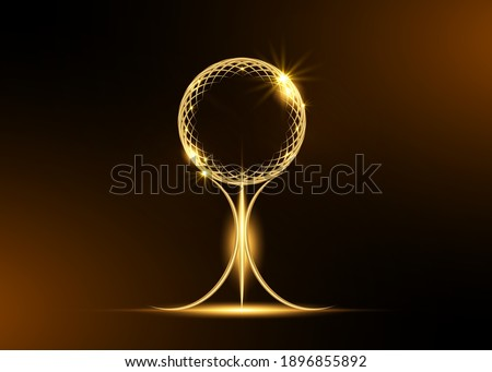 gold sphere trophy icon isolated on black background. Golden Academy award icon. Films and cinema or sport symbol prize concept and sport logo icon. Vector Illustration isolated on black background