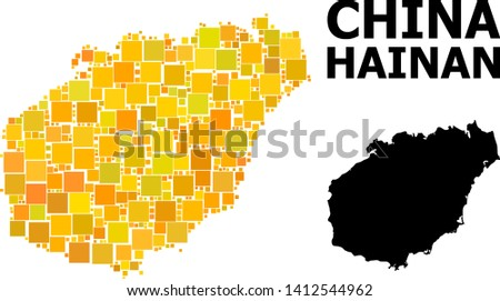 Gold square mosaic and solid map of Hainan Island. Vector geographic map of Hainan Island in yellow golden color variations. Abstract mosaic is designed with scattered flat rectangular points.