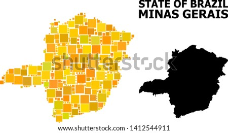 Gold square mosaic and solid map of Minas Gerais State. Vector geographic map of Minas Gerais State in yellow golden color tints. Abstract mosaic is organized from scattered flat square parts.