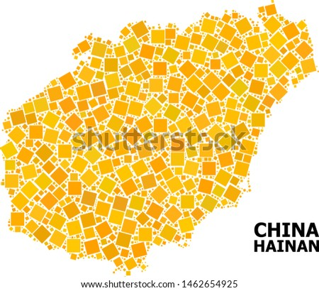 Gold square mosaic vector map of Hainan Island. Abstract mosaic geographic map of Hainan Island is combined from randomized flat rotated rectangular points.