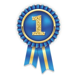 Gold 1st  place rosette, badge with blue ribbon on white background