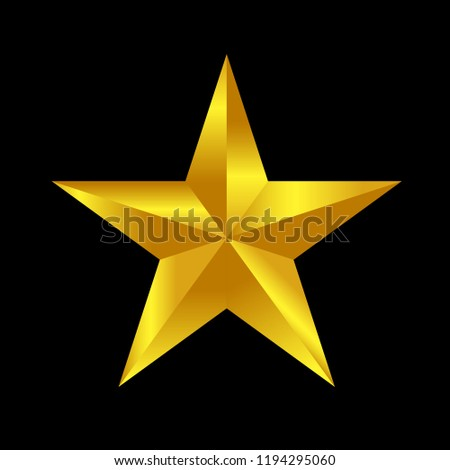 gold star 3d effect, icon isolated vector illustration, best sign