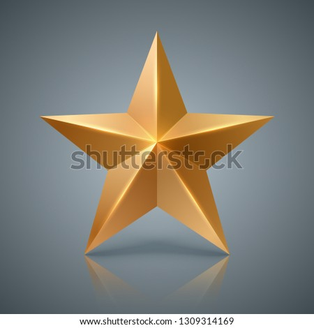 Gold star. 3D realistic icon. Vector eps 10