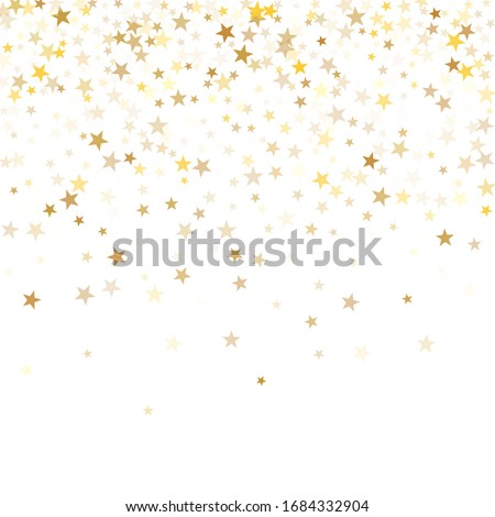 Gold star dust sparkle vector on white. Chaotic cosmic background with gold star elements flying. Gold glitter dust confetti, magic shining sparkles scatter vector. Starry festive decor.