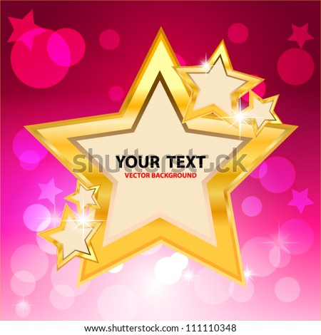 Gold star frame and bokeh on pink background. Vector Illustration