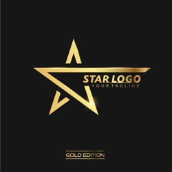 Gold Star Logo Vector in elegant Style with Black Background