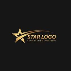 Gold Star Logo Vector with Black Background
