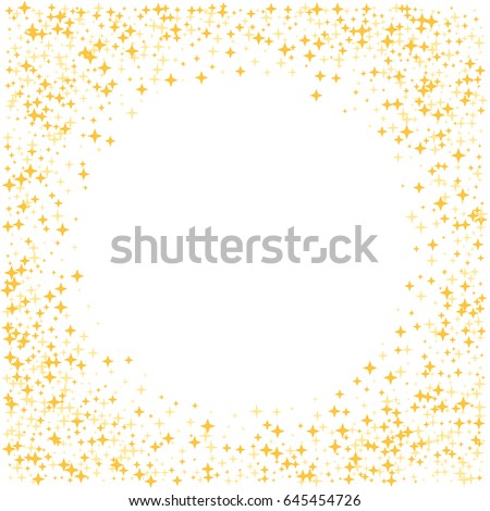 Gold star square border with circle place for text, sparkles glitter vector frame, white background. Stardust cosmic graphic design with golden night sky objects. Shining starlight.