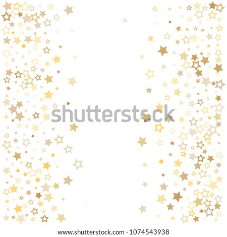 gold stars background frame vector. golden christmas lights confetti falling. magic shining Flying stars glitter cosmic backdrop, premium sparkles stardust vector border on white.