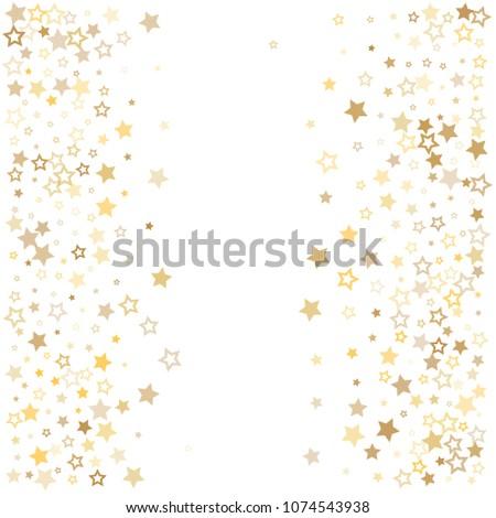 gold stars background frame vector. golden christmas lights confetti falling. magic shining Flying stars glitter cosmic backdrop, premium sparkles stardust vector border on white.