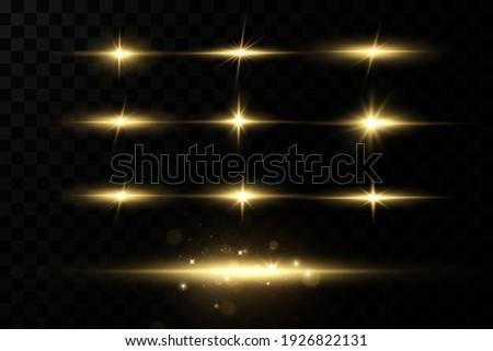 Gold stars, glow effect, glowing lights, sun.Vector. Foto stock ©
