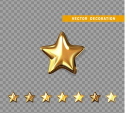 Gold stars isolated on transparent background. Vector illustration.