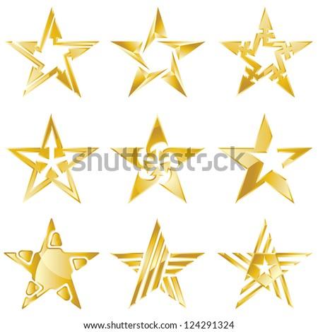 Gold stars original vector logo collection - stock vector