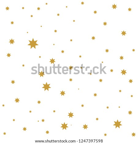 Gold stars shiny pattern vector