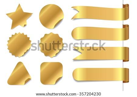 Gold sticker & ribbon set.
