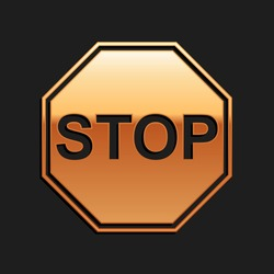 Gold Stop sign icon isolated on black background. Traffic regulatory warning stop symbol. Long shadow style. Vector.