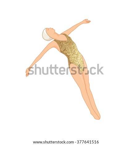 GOLD SWIMMER WALL ART. Editable vector illustration file. Can use as poster, wall art picture, card, postcard and more...