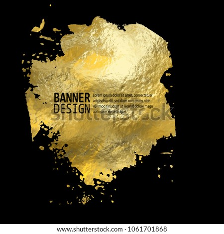 Gold Texture Blob Paint Stain Illustration. Hand drawn golden brush stroke vector design element.