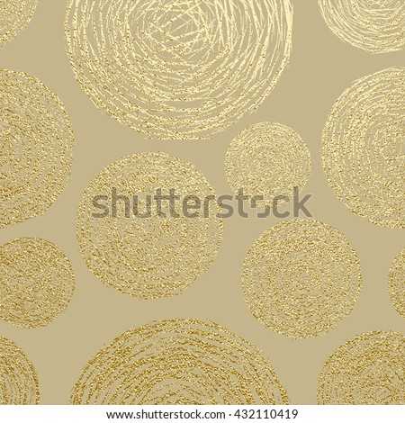 Gold texture. Circles pattern. Abstract gold glitter background