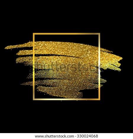 Gold Texture Paint Stain Illustration. Hand drawn brush stroke vector design element.