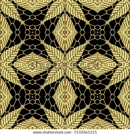 Gold textured abstract vector seamless pattern. Tribal ornamental lace background. Repeat ethnic grid backdrop. Decorative geometric surface ornament. Endless ornate texture. Ornate floral design.