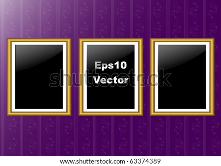 gold three frames on the wall with  purple wallpaper. vector 10eps.
