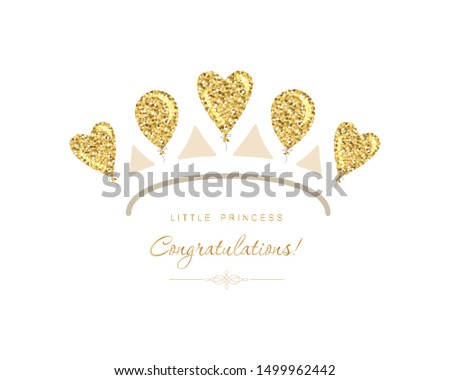 Gold tiara icon made of glitter balloons. Cute template for girls birthday, baby shower celebration. Isolated.Vector illustration.