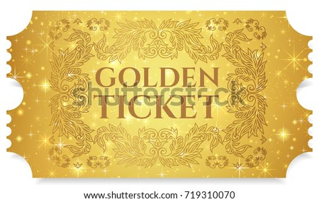 Shutterstock Gold ticket, golden token (tear-off ticket, coupon) with star magical background. Useful for any festival, party, cinema, event, entertainment show