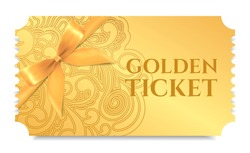 Gold ticket, golden token with bow (ribbon) (tear-off ticket, coupon) isolated on white background. Useful for any festival, party, cinema, event, entertainment show