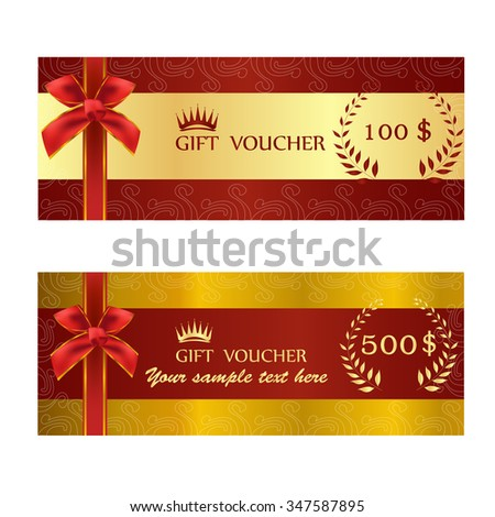 Gold Ticket Voucher Gift Certificate Coupon Template – Ticket Voucher Template