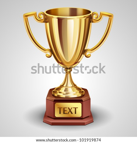 Gold trophy - stock vector