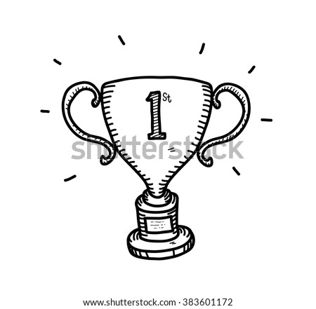 Gold Trophy Doodle, a hand drawn vector doodle illustration of a gold trophy for the first position winner.
