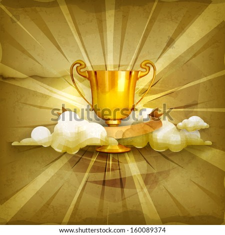 Gold trophy old style vector background