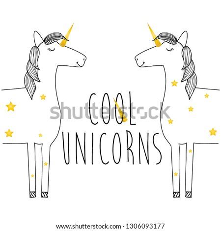 gold unicorn black line girl tee illustration art vector