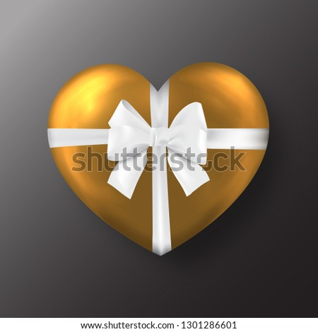 Gold Valentine's day heart with white  bow on black background #1301286601
